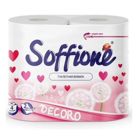 Бумага туалетная SOFFIONE Decoro Pink 2 сл 4 р РОССИЯ