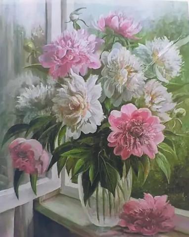Алмазная Мозаика 20х30 Белые и розовые цветы в прозрачной вазе у окна (арт. S3180)