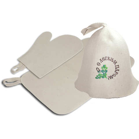 Набор из 3-х предметов (шапка С лёгким паром, рукавица, коврик), войлок 100%