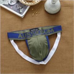 Трусы мужские джоки хаки с темно-синей окантовкой AussieBum