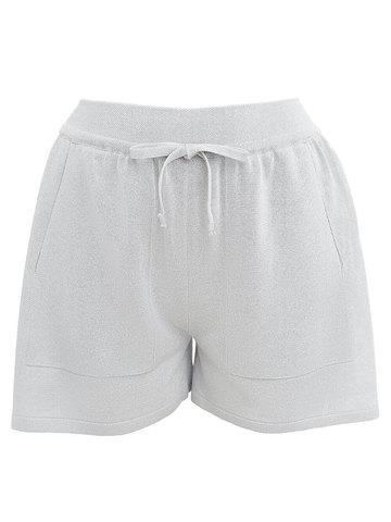 Женские шорты светло-серого цвета из вискозы - фото 1