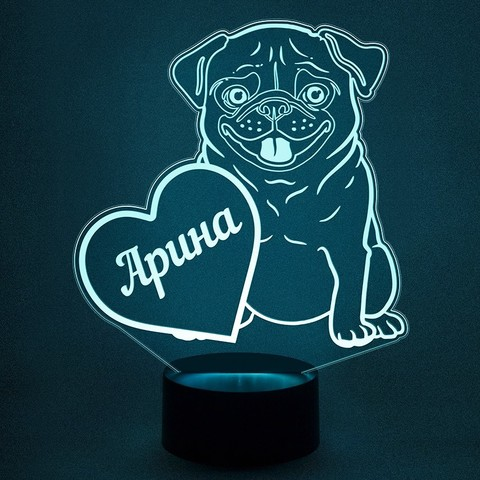 Собака мопс + имя (Ваш текст)