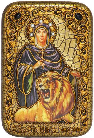 Инкрустированная Икона Святая мученица Дария Римская 15х10см на натуральном дереве, в подарочной коробке