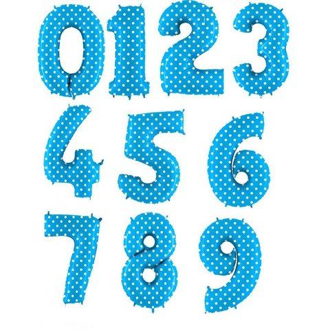 Фольгированная цифра Горошек на голубом 101 см.