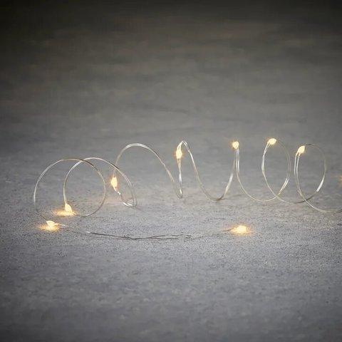 Декор гирлянда Б/О теплый свет 20 ламп 190 см медный провод