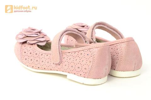 Детские туфли Котофей 332037-22 из натуральной кожи, для девочки, розовые. Изображение 7 из 14.