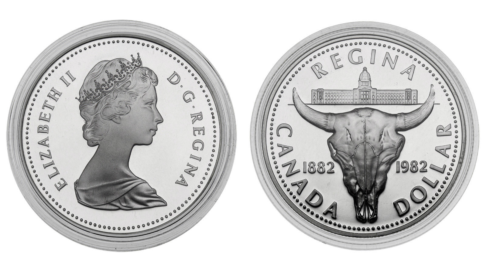 1 доллар. 100 лет городу Реджайна. Канада. Серебро. 1982 год. Proof