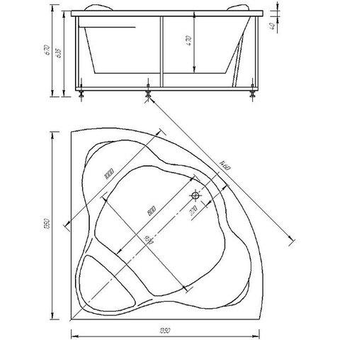 Ванна акриловая Aquatek Галатея  135х135см. на карккасе и сливом-переливом. схема