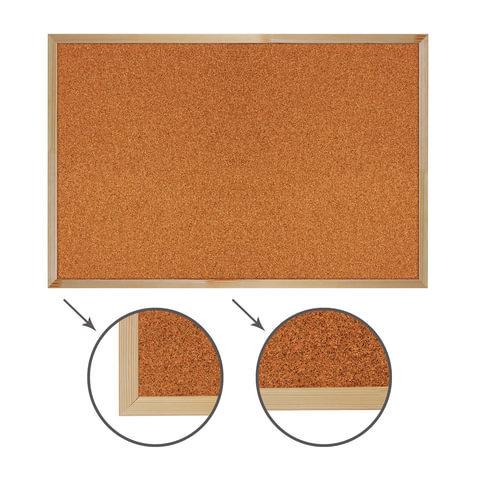 Доска пробковая BRAUBERG для объявлений, деревянная рамка