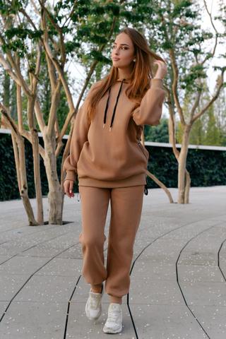 Спортивный костюм на флисе коричневый купить