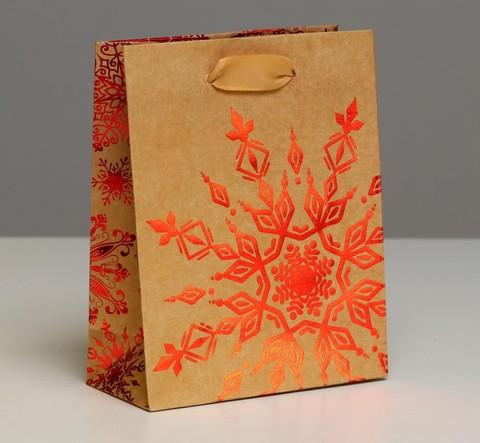 Пакет крафтовый вертикальный «Снежинка»,  12 × 15 × 5.5 см