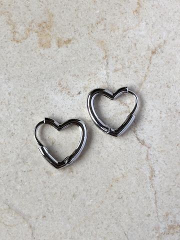 Серьги Сердце, серебряный цвет