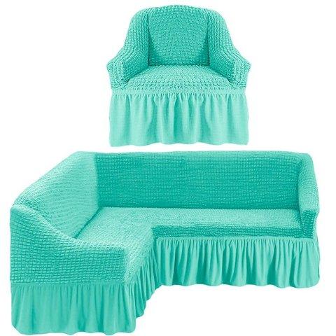 Чехол на угловой диван и кресло, бирюзовый