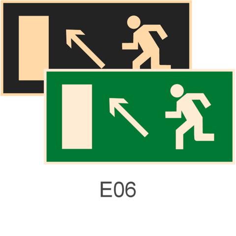 фотолюминесцентные знаки безопасности Е06 Направление к эвакуационному выходу налево вверх