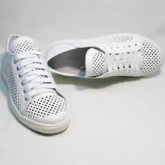 Женские летние кеды белые туфли на шнурках ZiKo KPP2 Wite.