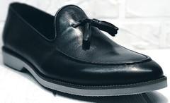Черные кожаные лоферы туфли мужские классические Luciano Bellini 91178-E-212 Black.