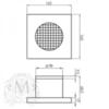 Вентилятор для ванной комнаты D100 мм с декоративной решеткой 160x160 мм золото Migliore ML.VTR-50.510DO схема