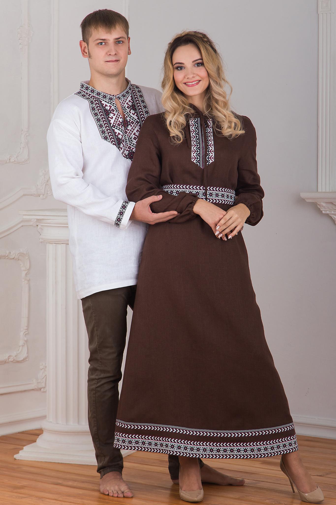 Платье льняное Новгородское полный рост
