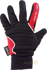 Перчатки лыжные утепленные Ski Team K18004B черно/красные - 2