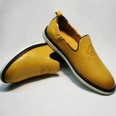 Модные туфли мужские кожаные King West 053-1022 Yellow-White.