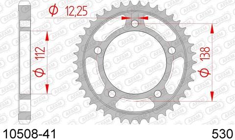 Звезда задняя 10508-41 для HONDA CB 1100, HONDA CBF 1000 (ведомая) стальная, 530, AFAM (JTR302.41)