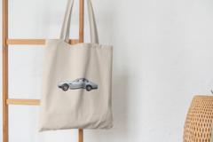 Сумка-шоппер с принтом Астон Мартин (Aston Martin) бежевая 0011