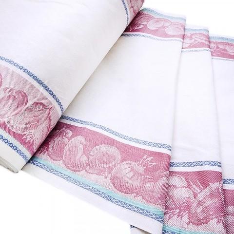 Полулен полотенечный 50 см Жаккард цвет бордовый