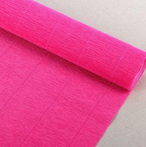 Бумага гофрированная, цвет 970 светло-малиновый, 140г, 50х250 см, Cartotecnica Rossi (Италия)
