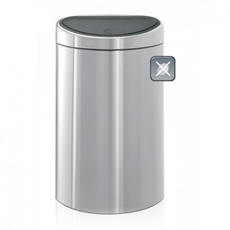 Двухсекционный мусорный бак Brabantia Touch Bin (2Х20л), Матовая сталь с защитой от отпечатков пальцев, арт. 378720 - фото 1