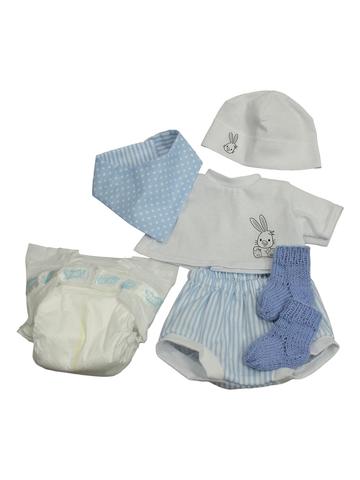 Комплект с подгузником - Голубой. Одежда для кукол, пупсов и мягких игрушек.
