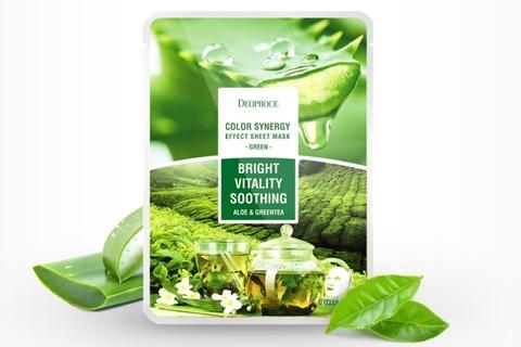 Тканевая маска с экстрактами алое и зеленого чая