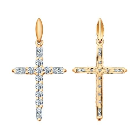 93030282 -Крест из золочёного серебра с фианитами в стиле Тиффани