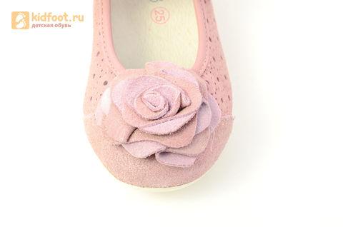 Детские туфли Котофей 332037-22 из натуральной кожи, для девочки, розовые. Изображение 11 из 14.