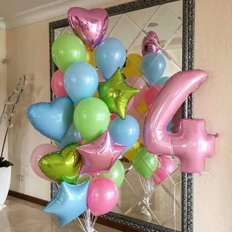 Фонтан из шаров с цифрой Мармелад