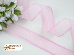 Лента органза розовая в белый горох 25 мм
