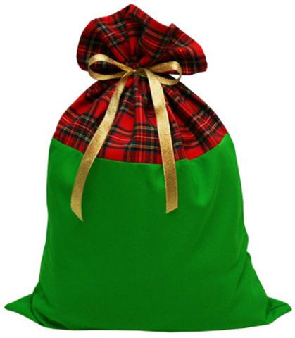 Мешок для подарков зелёный