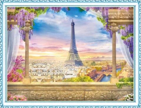 Алмазная Мозаика 40x50 Вид с балкона на Эйфелеву башню (арт. MGL8072 )