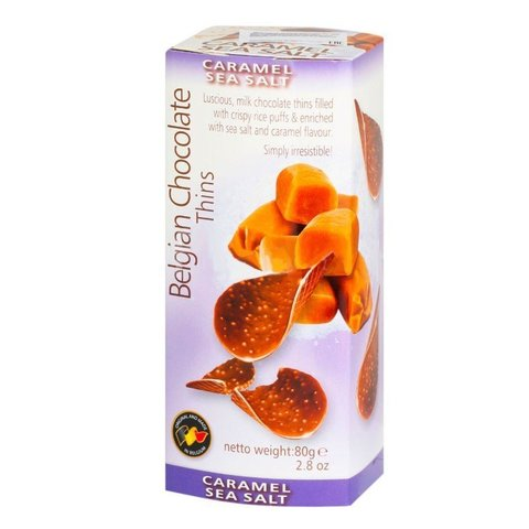 Шоколадные чипсы Belgian Chocolate Thins Caramel Sea Salt 80 гр