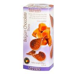 Шоколадные чипсы Belgian Chocolate Thins Caramel Sea Salt 80 гр