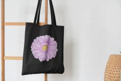 Сумка-шоппер с принтом Цветы (Герберы) черная 004