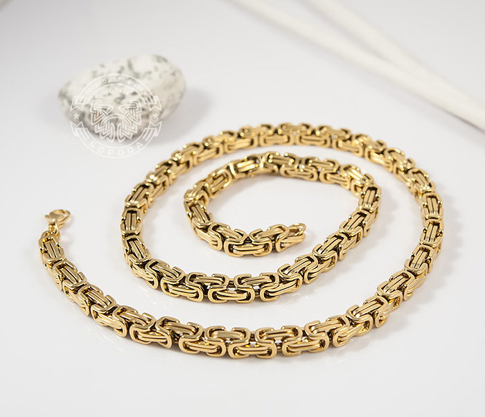 PM176 Красивая мужская цепь из стали квадратного сечения золотого цвета (55 см) фото 03