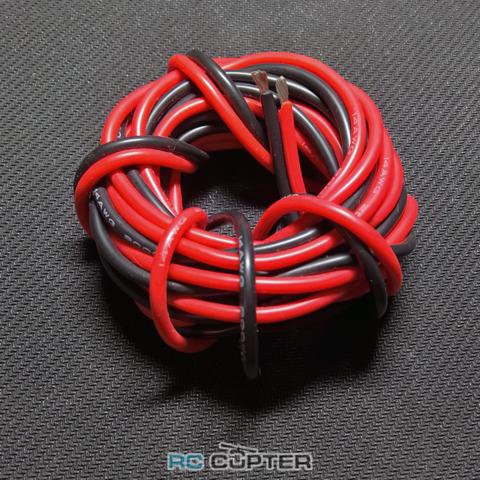 Медный провод 2AWG (1м красного + 1м чёрного) в силиконовой изоляции 2 метра