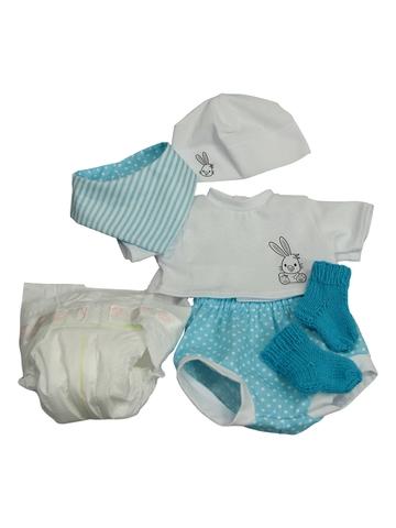 Комплект с подгузником - Бирюзовый. Одежда для кукол, пупсов и мягких игрушек.