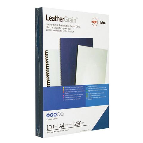 Обложки для переплета картонные GBC А4 250 г/кв.м синие текстура кожа (100 штук в упаковке)