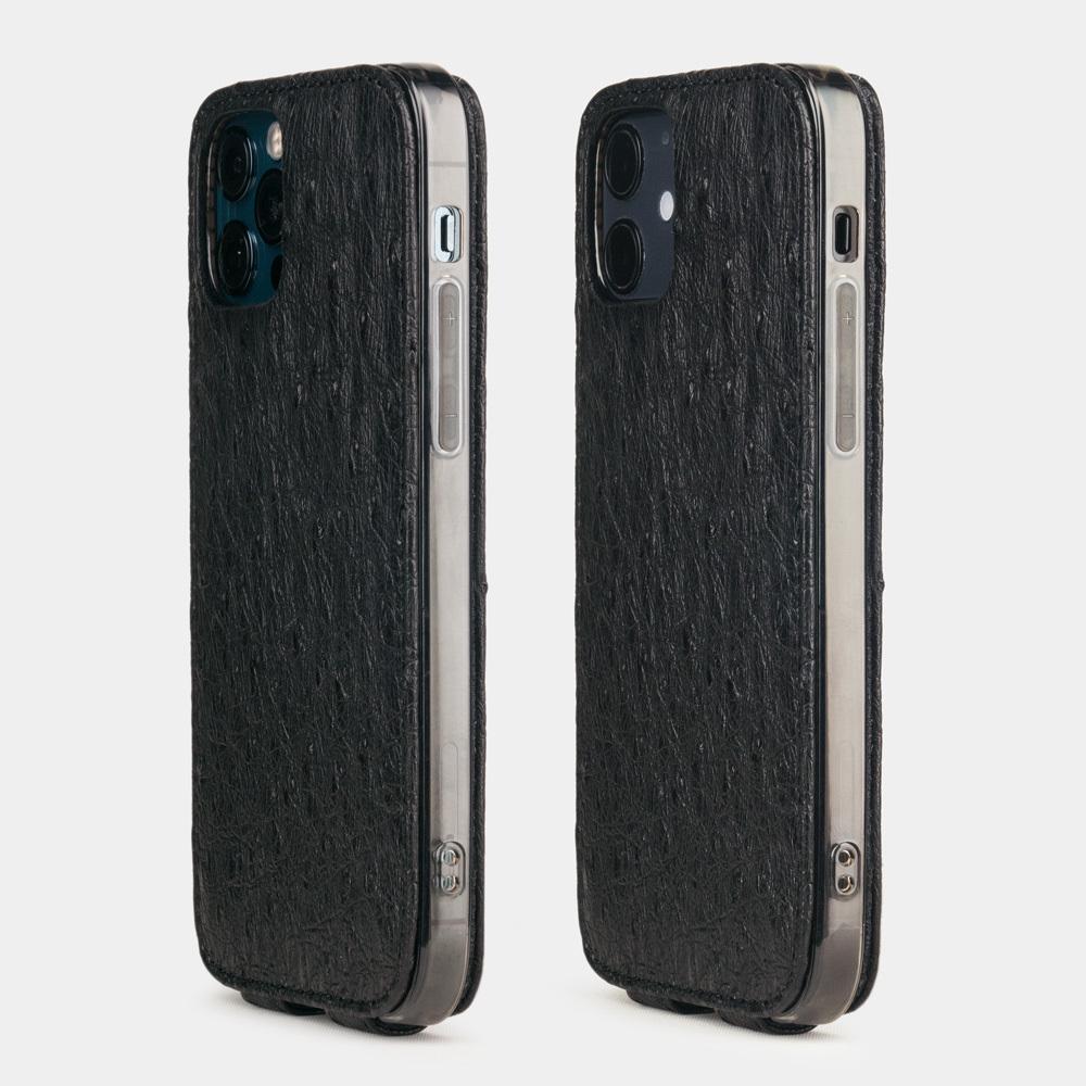 Чехол для iPhone 12/12Pro из натуральной кожи страуса, черного цвета