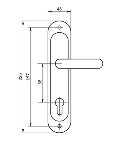 Ручка на планке для китайских дверей HP09 (для замка НТО ЛУЧ)