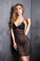 Сорочка черная сетка Evelin 17530