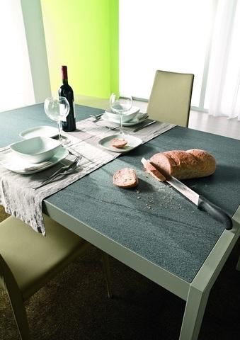 Стол LEO (42.55)120/170*80*Н75 см (М312/M312/ D006/D006 цвета лавовый камень) (обеденный, кухонный, для гостиной), Материал каркаса: Металл, Цвет каркаса: Песочный M 312, Материал столешницы: Меламин (Искусств.камень), Цвет столешницы: Лавовый камень D006, Цвет: Бежевый