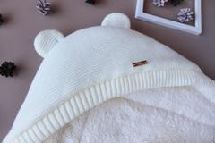 Зимний конверт для новорожденных Мишутка (молочный)