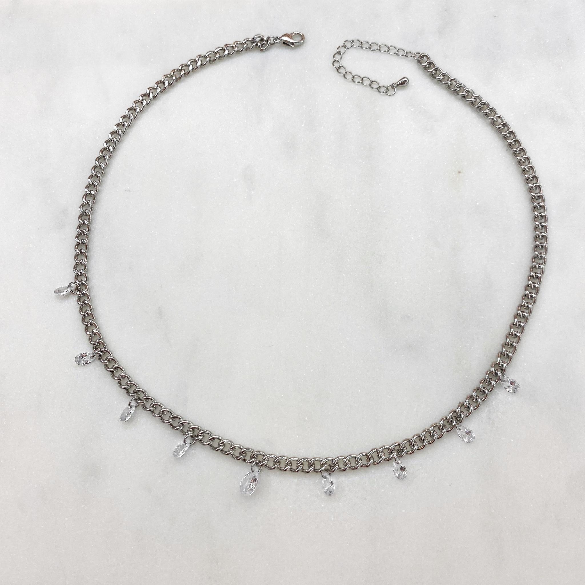 Чокер-цепь с цирконами-капельками (серебристый)